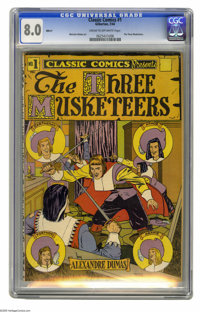 Classic Comics #1 The Three Musketeers - HRN 21 (Elliot, 1944) CGC VF 8.0 Cream to off-white pages. Overstreet 2005 VF 8...
