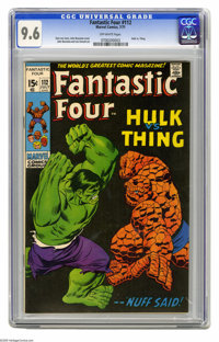 Fantastic Four #112 (Marvel, 1971) CGC NM+ 9.6 Off-white pages. It's a clash of titans when the Hulk battles the Thing...