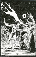 Original Comic Art:Miscellaneous, Dave Cockrum - Aurora Superboy Model Kit Cover Production Art(Aurora, 1965). Superboy and Krypto fight off a scaly space cr...