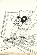 Original Comic Art:Covers, Western Publishing Artist - New Terrytoons #51 Cover Original Art(Gold Key, 1978). Mighty Mouse barges into another high-fl...