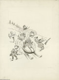 Original Comic Art:Sketches, Jack Rickard - Snowmobile Illustration Original Art (undated). Jack Rickard, one of the artists that defined MAD, kicks ...