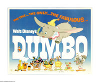 "Dumbo (RKO, R-1976). Half Sheet (22"" X 28""). ""Dumbo! The ninth wonder of the univoise! The world's only f..."