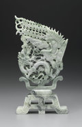 Asian:Chinese, CHINESE CARVED JADE/HARDSTONE OPENWORK GROUP. Chinese carvedjade/hardstone openwork group depicting a dragon and phoenix ...
