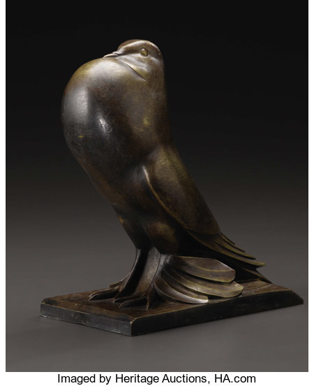 A Bronze Figure of Le PigeonG.H. Laurent, FrenchCirca 1920-30Bronze with brown and gold patinationSigned: G....