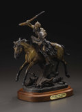 Fine Art - Sculpture, American:Contemporary (1950 to present), A Bronze Figure of a Mountain Man on Horseback, Hell Bent forLeather. Truman Bolinger, American. 1983. Bronze with br...