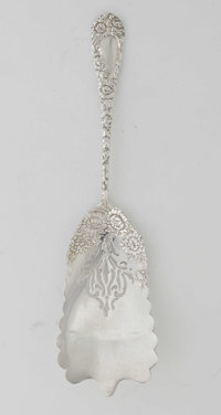 An American Silver 'Chrysanthemum' Waffle Server Mark of Durgin, Concord, New Hampshire, c.1893  The pierced scalloped e...