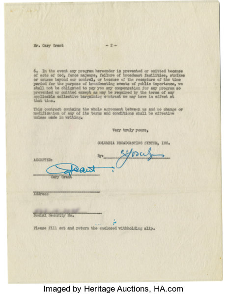 Cary Grant Signed Radio Contract A One Page Lot 21307