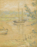 Fine Art - Painting, American:Modern  (1900 1949)  , ELMER LIVINGSTON MACRAE (American 1875-1953). Sailboat On TheWater, Connecticut Coast, 1906. Pastel on paper. 18-5/8 x ...