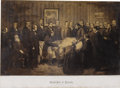 """Political:Memorial (1800-present), 1866 Photograph """"Death-Bed of Lincoln, April 15, 1865"""" From a Painting by John Littlefield. Image size 18.5"""" x 11.5"""", framed..."""