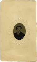 Photography:Tintypes, John Wilkes Booth: A Scarce Tintype Portrait. While there arenumerous varieties of cartes de visite depictingLincoln's...