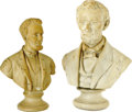 """Political:3D & Other Display (pre-1896), Two Turn of the Century Lincoln Advertising Busts. The one on the left in the photo was made to promote """"Lincoln Tea"""" which ... (Total: 2 )"""
