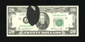 Error Notes:Ink Smears, Fr. 2073-J $20 1981 Federal Reserve Note. Gem Crisp Uncirculated..A large black, thick ink blob is found to the left of the...