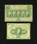 Fractional Currency:First Issue, Two First Issues.. Fr. 1242 10c First Issue Fine. Fr. 1312 50c First Issue VG.. ... (Total: 2 notes)