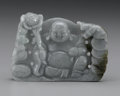 Asian:Chinese, CHINESE CARVED JADE/HARDSTONE PLAQUE. Chinese carved jade/hardstoneplaque depicting a Buddai, flanked by bats, foliage an...