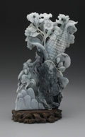 Asian:Chinese, CHINESE CARVED JADE/HARDSTONE OPENWORK GROUP. Chinese carved jade/hardstone openwork group depicting a corn husk with a sm...