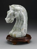 Asian:Chinese, CHINESE CARVED JADE/HARDSTONE FIGURE. Chinese carved jade/hardstonefigure of horse head, with mouth agape. Of mottled pal...