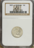 Early Dimes: , 1805 10C 4 Berries MS65 NGC. JR-2. NGC Census: (16/11). PCGSPopulation (11/7). Mintage: 120,780. Numismedia Wsl. Price: $3...
