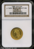 Patterns: , 1880 $4 Flowing Hair Four Dollar, Judd-1658, Pollock-1858, Low R.7, PR64 Gilt NGC. Ex: Sweet Collection....