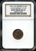 Errors: , 1965 10C Roosevelt Dime--Obverse Clad Layer Missing--MS63 NGC. 1.9grams....