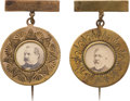 Political:Ferrotypes / Photo Badges (pre-1896), Grover Cleveland and James G. Blaine: Unlisted, Attractive Cardboard Stickpins.... (Total: 2 Items)