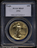Modern Bullion Coins: , 1994 G$50 One-Ounce Gold Eagle MS69 PCGS. ...