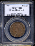 1787 COPPER Connecticut Copper, Draped Bust Left VF20 PCGS. Miller 33.2-Z.1, R.1. Slightly off-center and milk-chocolate...