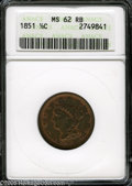 1851 1/2 C MS62 Red and Brown ANACS. B-1, C-1, R.1. Boldly struck and abrasion-free, with a great deal of orange-red lus...