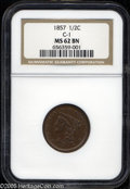 1857 1/2 C MS62 Brown NGC. B-1, C-1, R.2. A smooth medium brown representative, crisply struck aside from a couple of st...