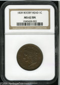 1839 1C Booby Head MS62 Brown NGC. N-13, R.2. A crisply struck and shimmering chocolate-brown representative, smooth for...