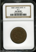 1840 1C Large Date AU58 NGC. N-7, R.2. A lightly circulated chocolate-brown piece that has consistent color and smooth s...