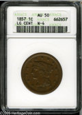 1857 1C Small Date AU50 ANACS. N-4, R.1. A golden-brown final year Large Cent, lightly marked but not unattractive. Lust...
