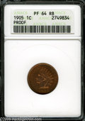 Proof Indian Cents: , 1905 1C PR64 Red and Brown ANACS. Fully struck and contact-free, with bright red-orange and red-gold toning over both sides...