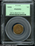 Proof Indian Cents: , 1908 1C PR65 Red PCGS. Orange-gold patination is imbued with traces of red, and the coin displays a cameo-like appearance w...