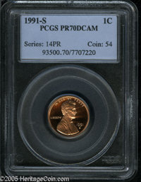 1991-S 1C PR70 Deep Cameo PCGS. A sharply struck proof cent that has splendid contrast and unimprovable preservation. Po...
