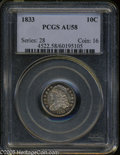 Bust Dimes: , 1833 10C Last 3 High AU58 PCGS. JR-5, R.1. Lovely electric-blue,olive, and plum colors enrich the borders of this exquisit...