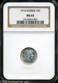 Barber Dimes: , 1916 10C MS65 NGC. Completely brilliant and untoned. Extensive diepolish lines are seen in the fields on each side....