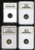 Proof Roosevelt Dimes: , 1952 10C PR68 NGC, the golden-brown centers are bounded by ice-bluetoning; 1954 PR66 Cameo NGC, rich plum, apricot, an... (4 Coins)