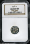 Proof Roosevelt Dimes: , 1954 10C PR68 Cameo NGC. Brilliant, prominently mirrored with nosignificant marks....