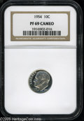 Proof Roosevelt Dimes: , 1954 10C PR69 Cameo NGC. This untoned cameoed proof is devoid ofblemishes....