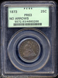 Proof Seated Quarters: , 1873 25C No Arrows PR63 PCGS. Attractively toned in cobalt-blue andlavender hues, with no significant contact marks appare...