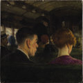 Illustration:Books, AMERICAN ILLUSTRATOR (20th Century) . Couple on a Train,original illustration . Oil on canvas . 16 x 16in. . Not signed...