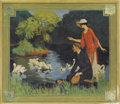 Paintings, AMERICAN ILLUSTRATOR (20th Century) . Swans on the Lake, original illustration . Oil on board . 17-1/2 x 20-1/2in. . Not...
