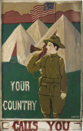 Illustration:Advertising, L. A. BATES (American 20th Century) . Original World War I-era U.S. Army Recruitment illustration, circa 1914-1918 . 31 x 2...(Total: 1 Item)