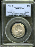 Washington Quarters: , 1932-S 25C MS64 PCGS. Sharply struck with mostly brilliant surfacesand light champagne toning on the reverse. A couple spo...