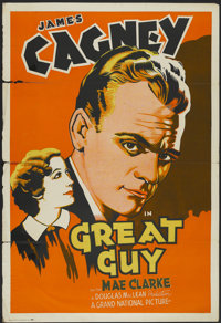 "Great Guy (Grand National, 1936). One Sheet (27"" X 41"") Tri-Folded. Drama"