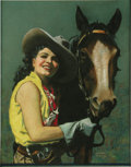Illustration:Pin-Up, EMANUEL DECOLAS (American 20th Century) . Cowgirl WithHorse, original pin up illustration . Pastel on paper . 22 x17in... (Total: 1 Item)