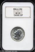 Washington Quarters: , 1936-D 25C MS63 NGC. Specks of light gray patina visit lustroussurfaces that display a few minute grade-defining marks....