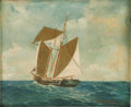 Illustration:Advertising, WILLIAM HENRY COFFIN (American 1812 - 1898) . Sailboat AtSea, 1900, original illustration . Oil on board . 9 x 11in. .... (Total: 1 Item)