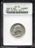 Washington Quarters: , 1942-D 25C Doubled Die Obverse AU50 ANACS. FS-015. DDO #1. Nearlyuntoned, this attractive example has ample remaining lust...