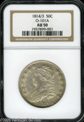 Bust Half Dollars: , 1814/3 50C AU50 NGC. O-101a, R.2. A pearl-gray piece that haspleasing luster across the margins and devices. The absence o...
